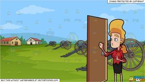 War door clipart vector stock A Woman Shyly Knocks On A Door and Revolutionary War Reenactment Background vector stock