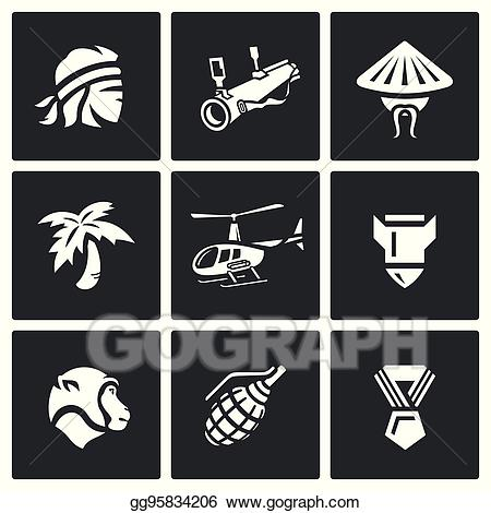 War in vietnam clipart clip transparent stock Vector Art - Vector set of the vietnam war icons. EPS ... clip transparent stock