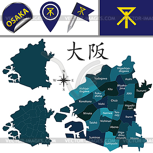 Wards in clipart clip freeuse Map of Osaka, Japan with Special Wards - vector EPS clipart clip freeuse