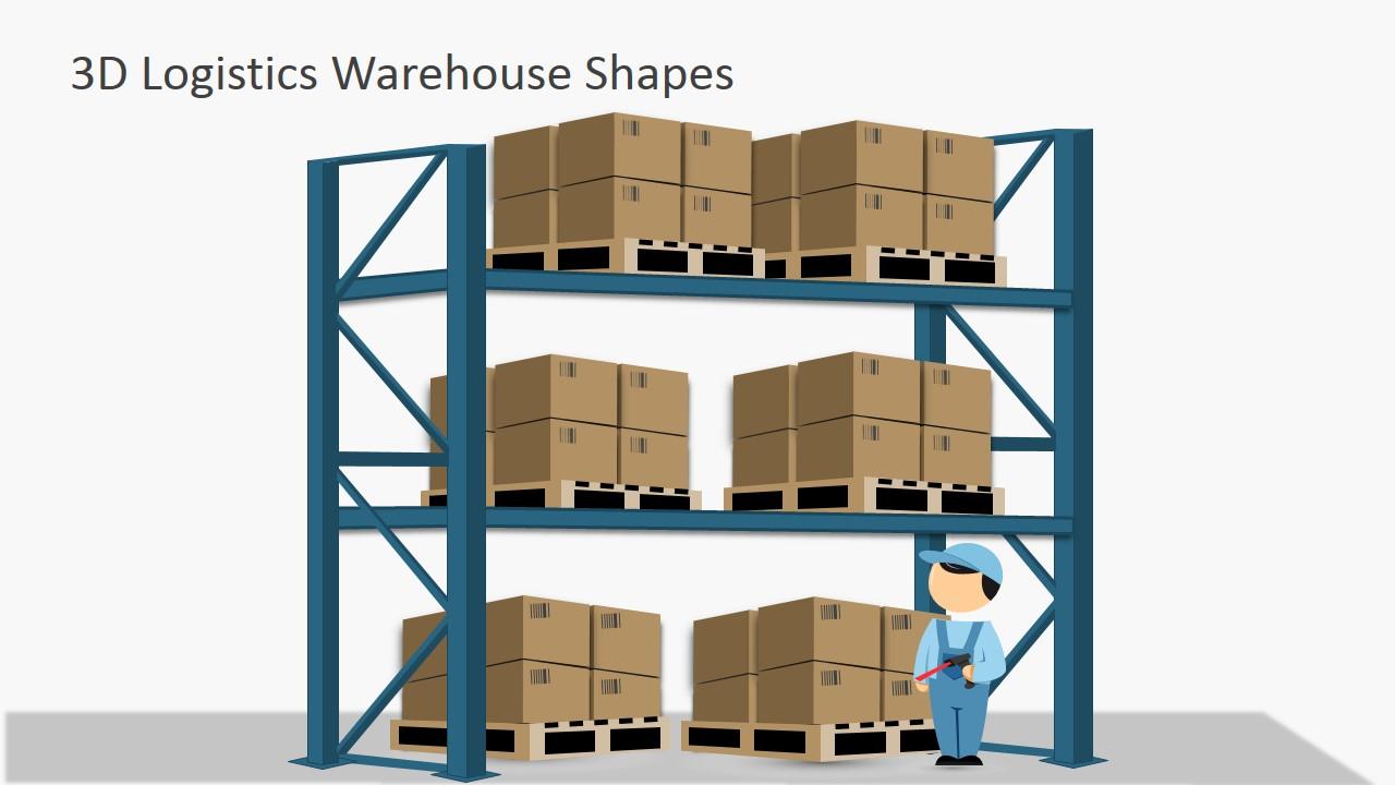Warehouse clipart shelves download 3D Logistics Warehouse PowerPoint Shapes download
