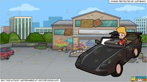Warehouse driver clipart clipart royalty free library A Woman Driving A Luxury Convertible Car and An Abandoned Warehouse  Background clipart royalty free library