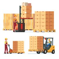 Warehouse worker clipart graphic black and white stock Warehouse Workers Stacking Goods With Truck stock vectors ... graphic black and white stock