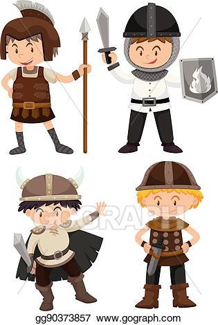Wariorkids clipart jpg free stock EPS Illustration - Four kids in warrior costume. Vector ... jpg free stock