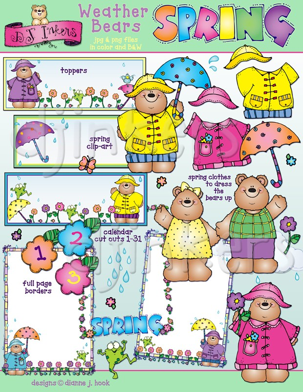 Warm spring clothes clipart clipart transparent stock Weather Bears clip art for spring by DJ Inkers - DJ Inkers clipart transparent stock