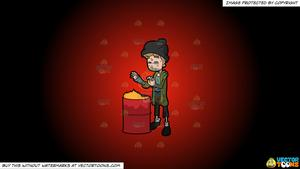 Warm the homeless clipart graphic transparent Clipart: A Homeless Woman Trying To Warm Herself By Placing Her Hands Near  The Garbage Bin Flame on a Red And Black Gradient Background graphic transparent