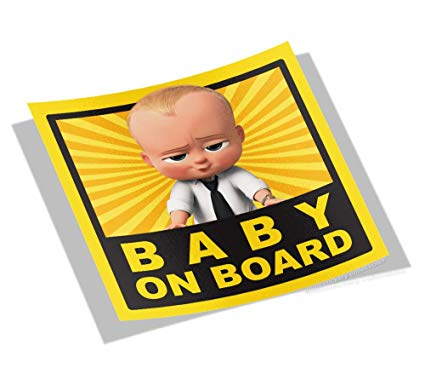 Warning rectangle board clipart png free download Amazon.com: Boss Baby On Board - Anime Car Warning Sticker ... png free download