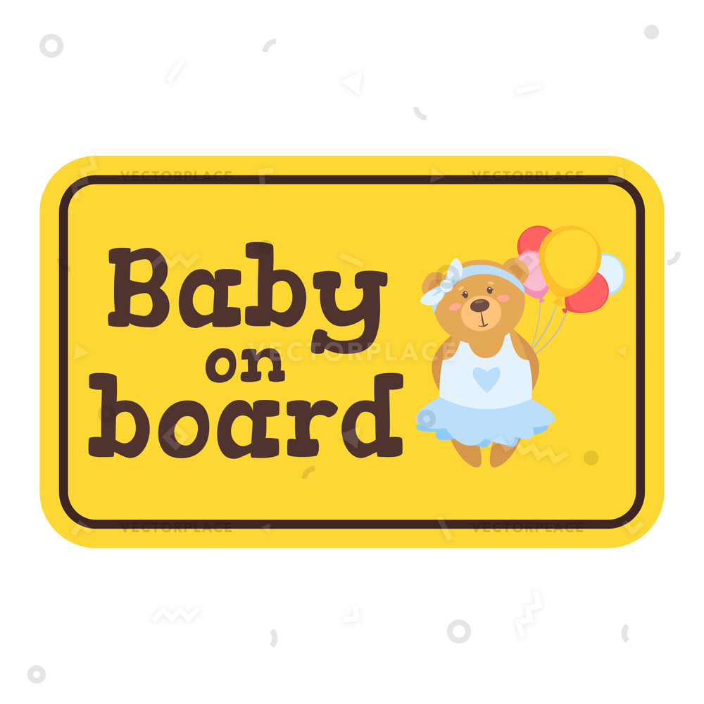 Warning rectangle board clipart image transparent stock Baby on board yellow safety sign with bear. Car warning sticker template.  Vector illustration. image transparent stock