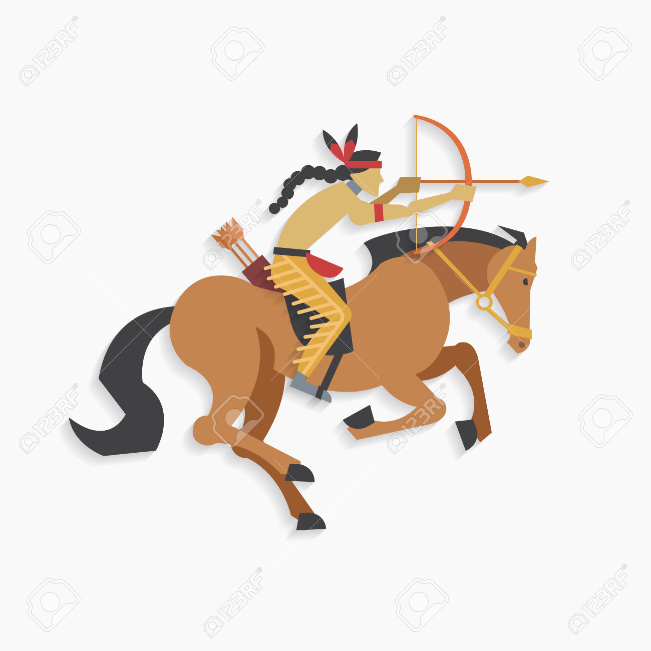 Warrior arrow clipart images png Native American Indian Warrior With Bow And Arrow Riding Horse ... png