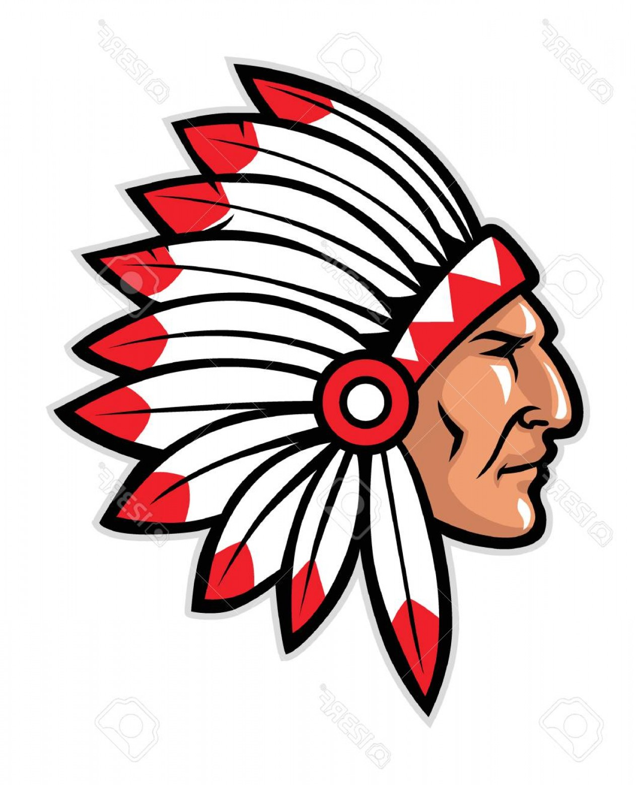 Warrior post clipart picture free library Photostock Vector Head Mascot Of Native American Warrior ... picture free library