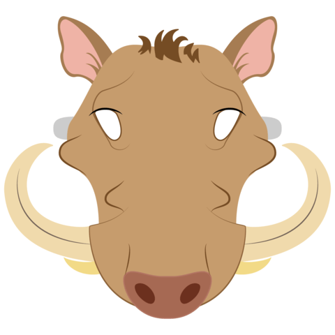 Warthog face clipart vector stock Warthog Mask Template | Free Printable Papercraft Templates vector stock