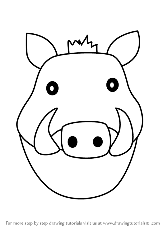 Warthog face clipart graphic Learn How to Draw a Warthog Face for Kids (Animal Faces for ... graphic