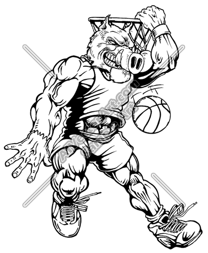 Warthog mascot clipart vector free library Razorback Warthog Basketball Mascot Clipart and Vectorart ... vector free library