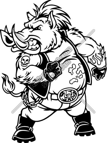 Warthog mascot clipart vector freeuse library ES2hog005BW Clipart and Vectorart: Sports Mascots ... vector freeuse library