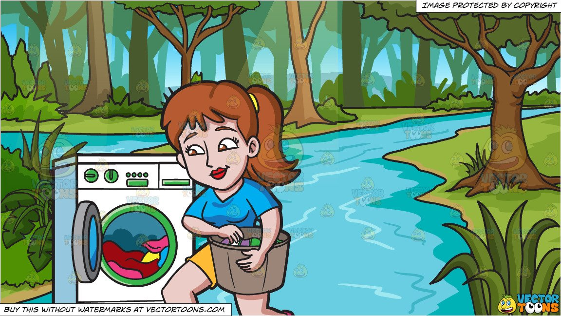 Wash in the river clipart free A Woman Placing Clothes In The Washing Machine and A River In A Jungle  Background free