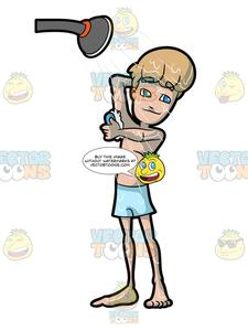 Wash underarms clipart svg transparent stock A Man Soaping His Underarm In The Shower svg transparent stock