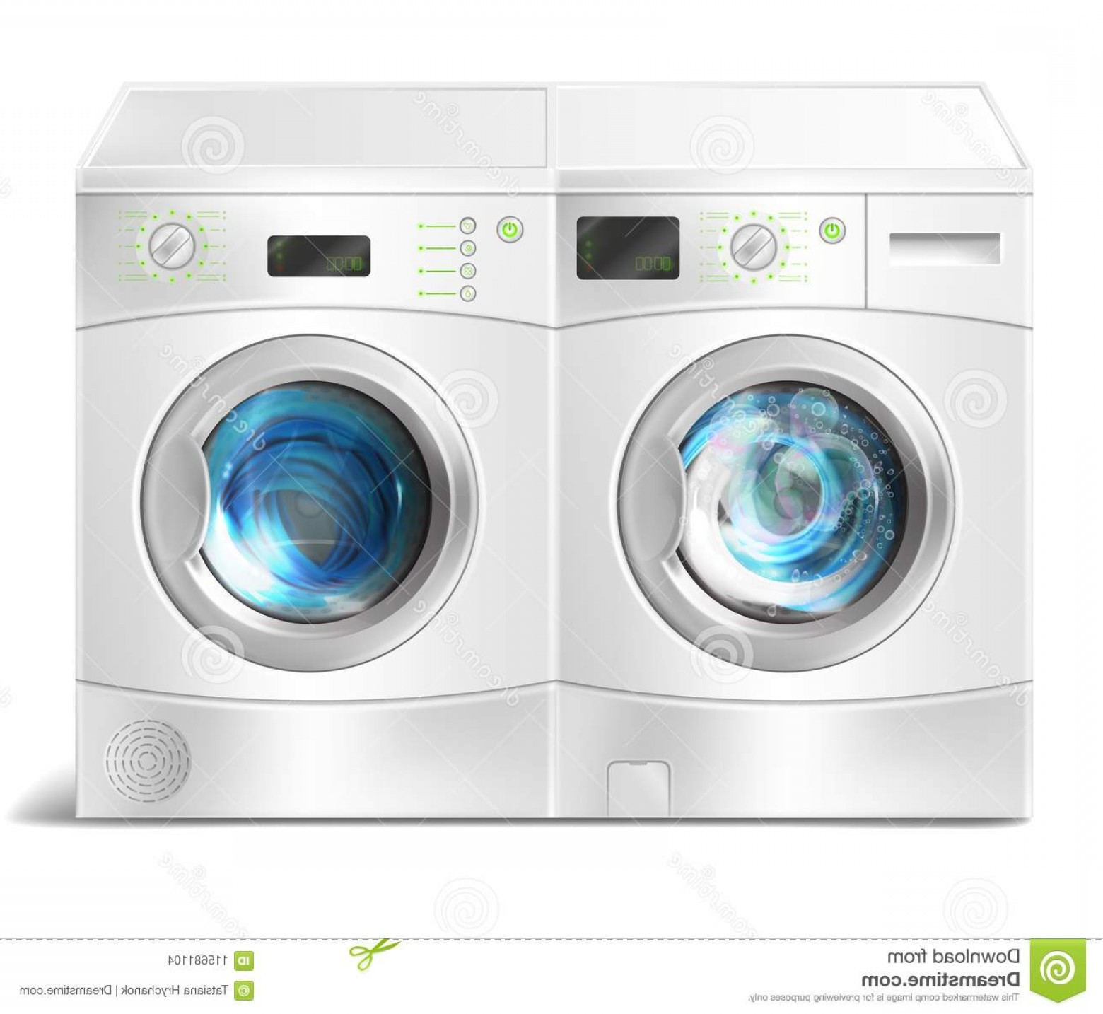 Washer and dryer clipart vector download Vector Washer Dryer Laundry Inside Realistic Illustration ... vector download