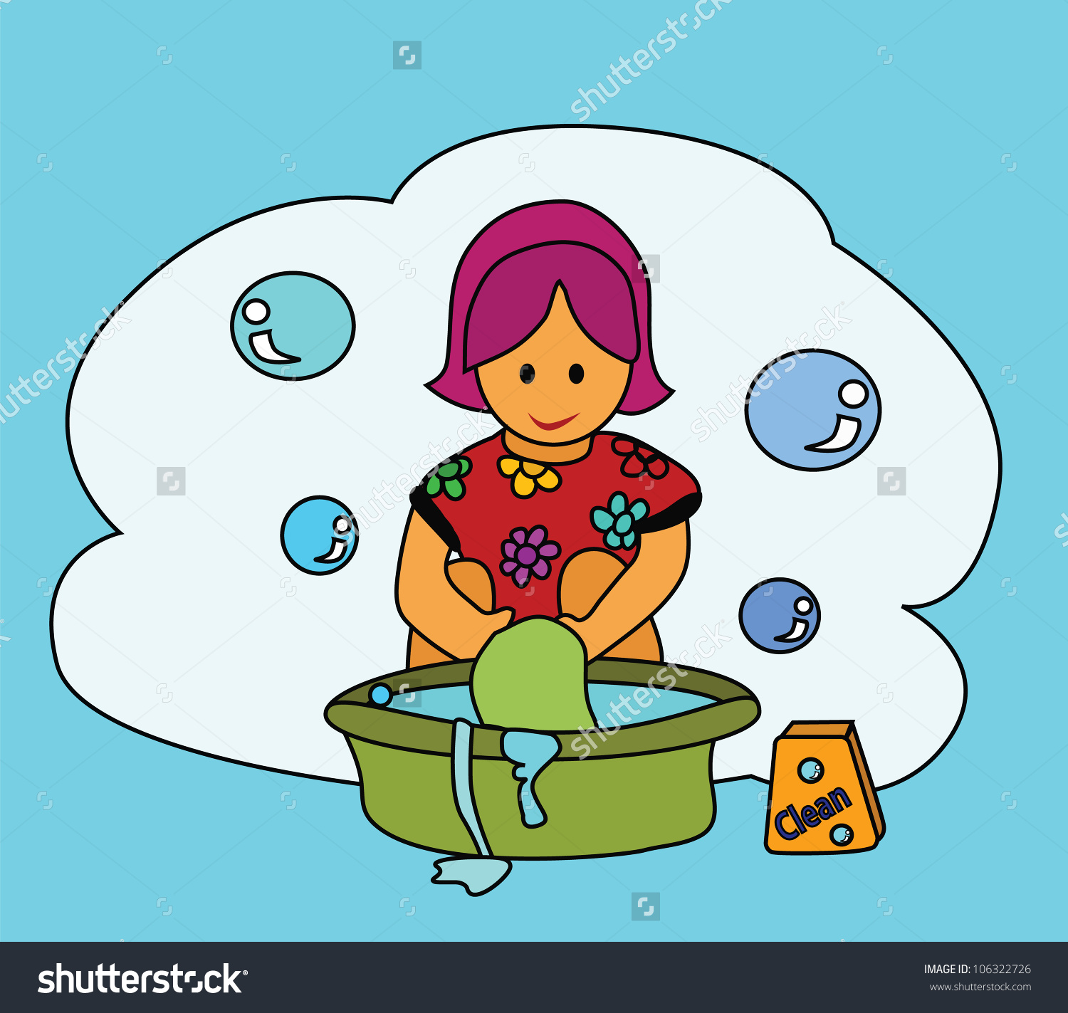 Washing clothes by hand clipart picture Illustration Washing Girl Washing Clothes Her Stock Illustration ... picture