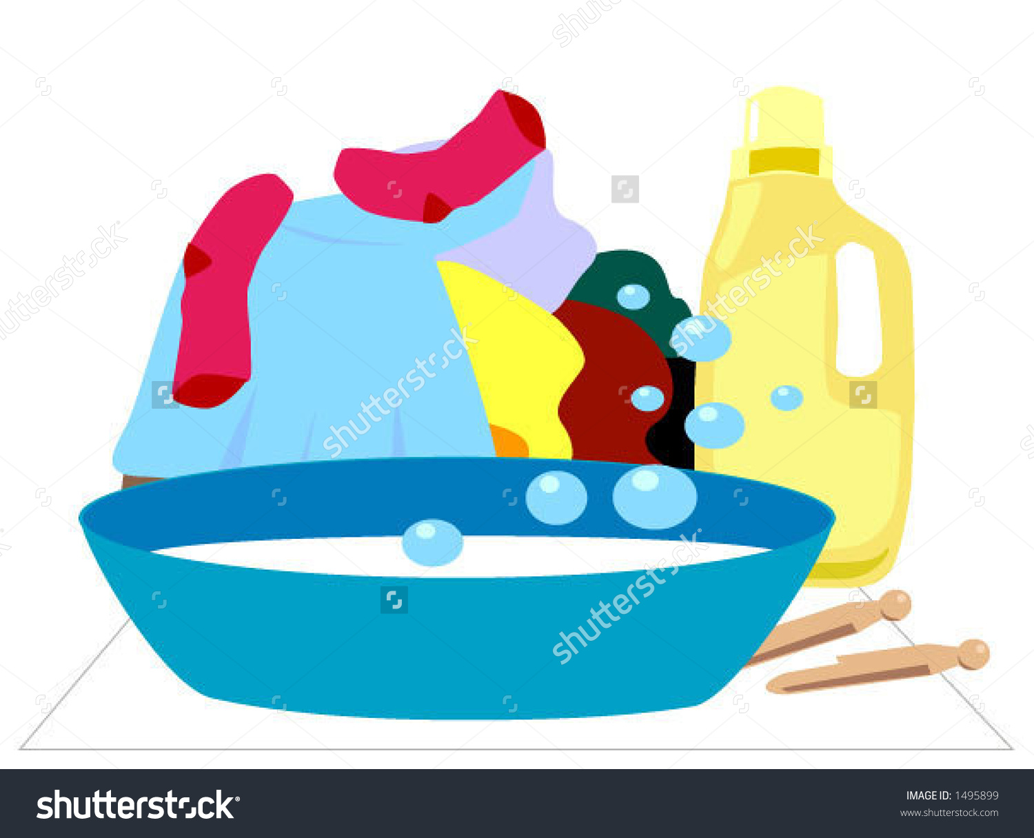 Washing clothes by hand clipart image free library Laundry Hand Washing Separate Items Vector Stock Vector 1495899 ... image free library