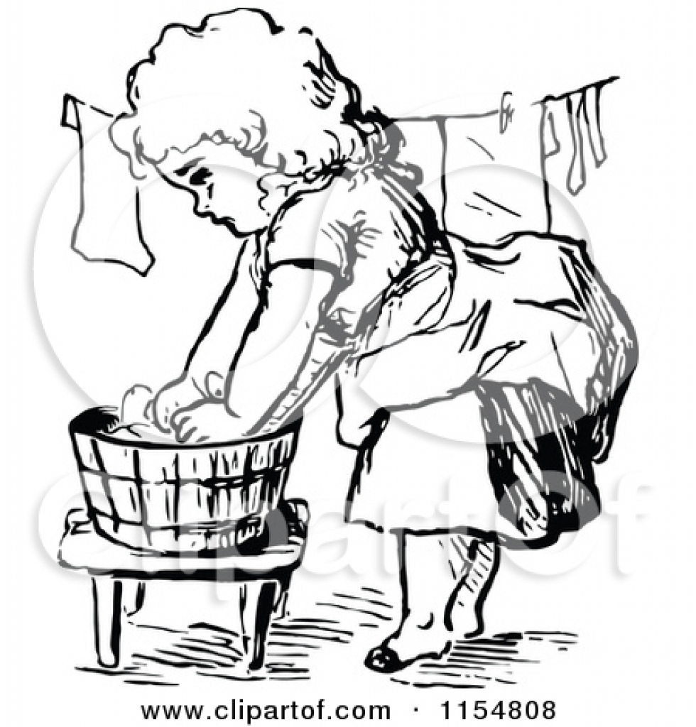 Washing clothes clipart freeuse download clipart of a retro vintage black and white girl washing and ... freeuse download