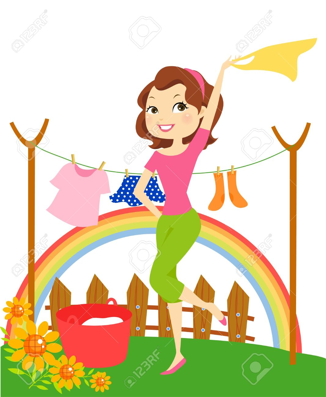 Washing clothes clipart image free Cartoon Of Housewife Hanging Clothes Royalty Free Cliparts ... image free