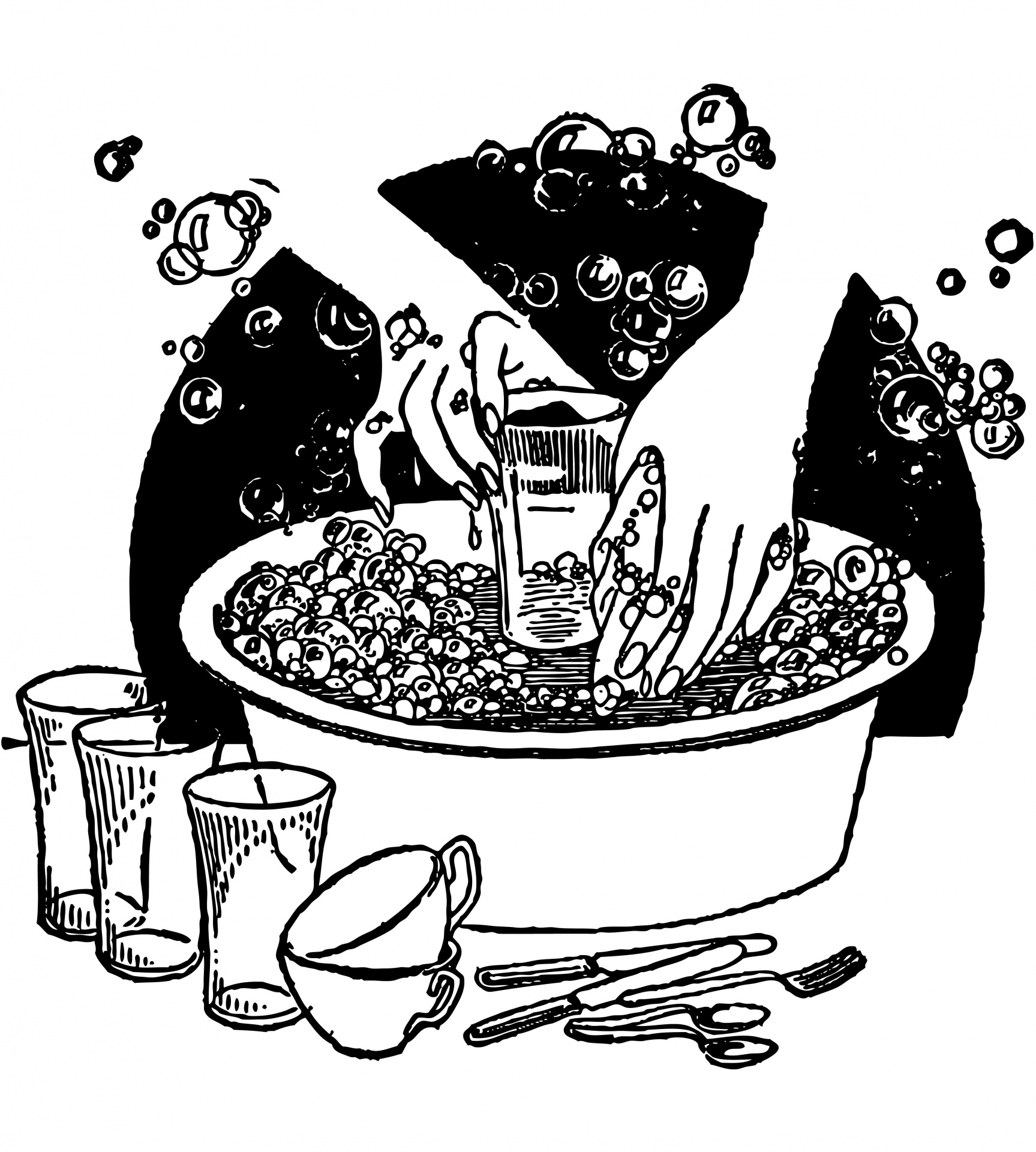 Washing dishes by hand clipart jpg freeuse download Washing Dishes Vintage Clipart Free Stock Photo - Public Domain ... jpg freeuse download
