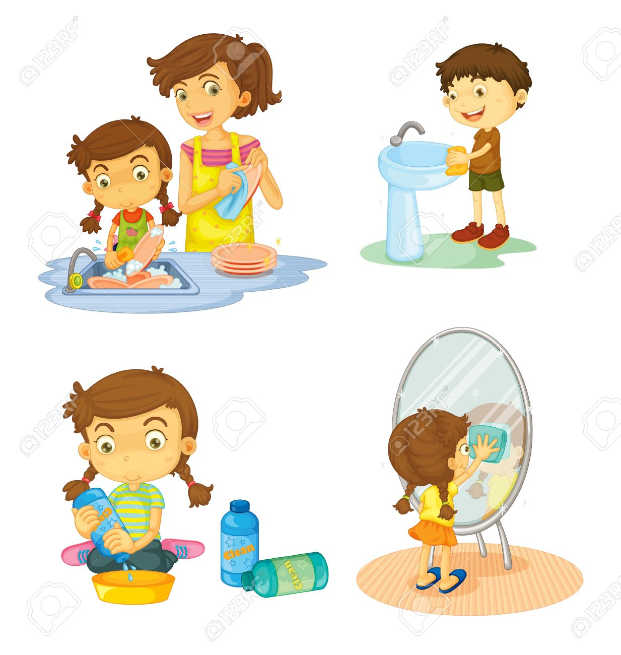 Washing dishes by hand clipart clip art transparent stock 6,385 Clean Dishes Stock Vector Illustration And Royalty Free ... clip art transparent stock