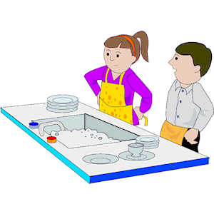 Washing dishes by hand clipart