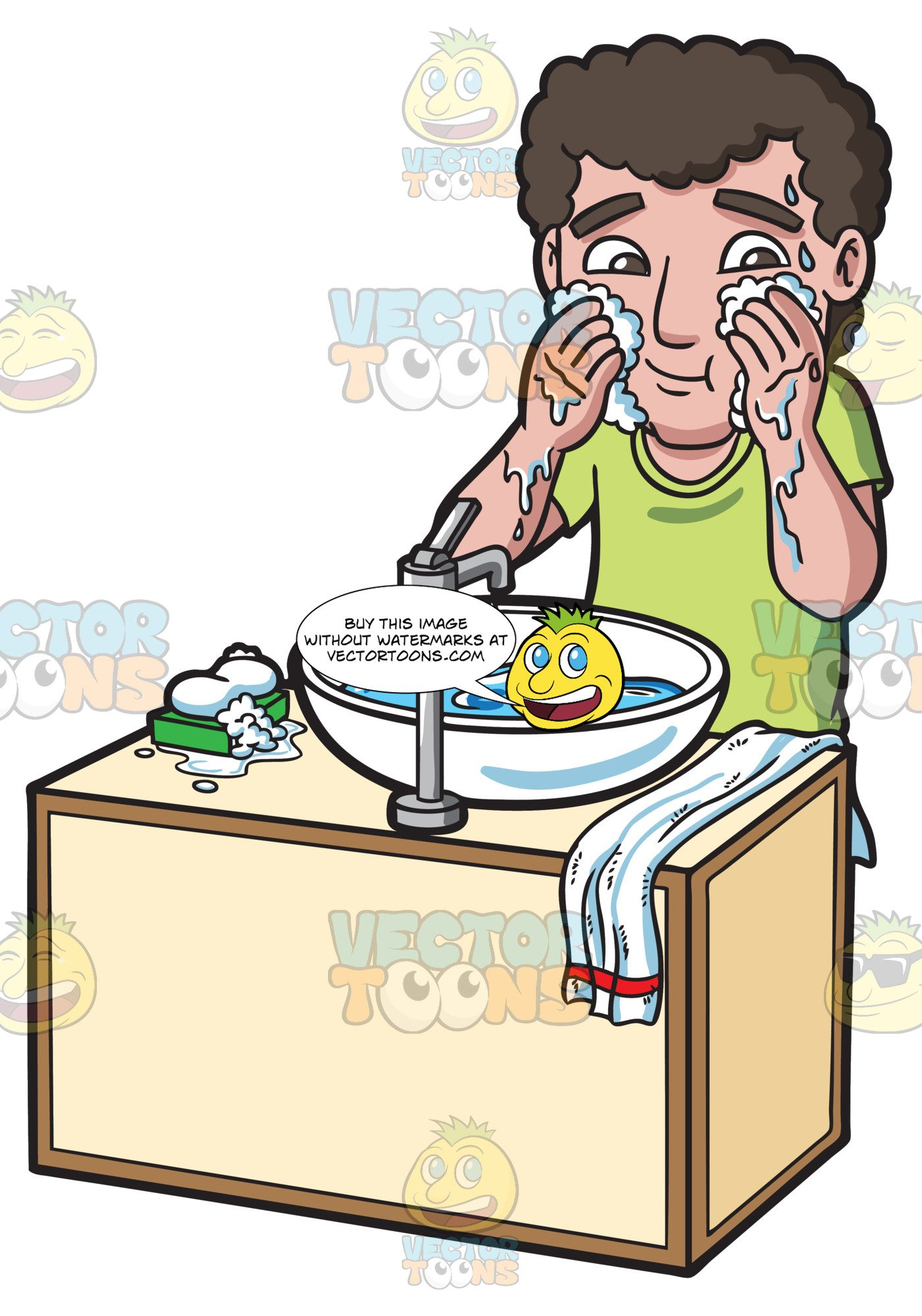 Washing face with soap clipart clipart library stock A Man Washing And Cleaning His Face With Soap And Water clipart library stock