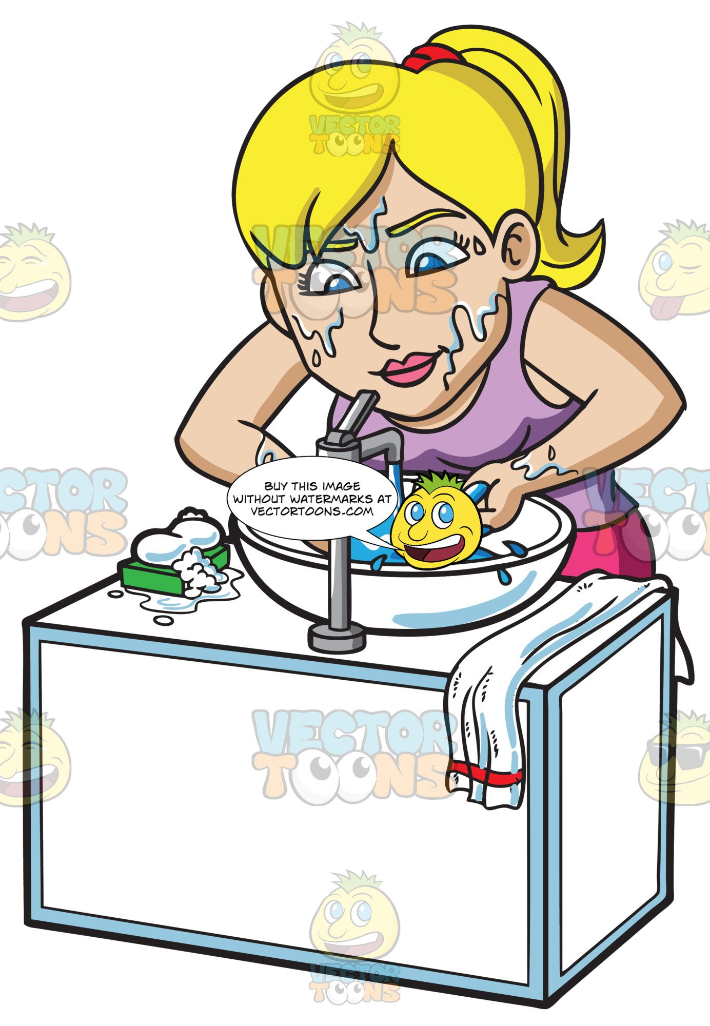 Washing face with soap clipart clip art transparent stock A Blonde Woman Washing Her Face With A Bar Soap clip art transparent stock