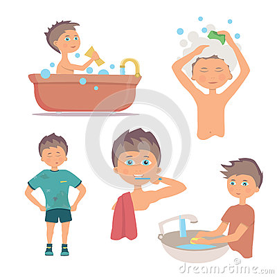 Washing hand in morning clipart vector Morning Personal Hygiene And Hands Washing Procedure. Hygiene Boy ... vector