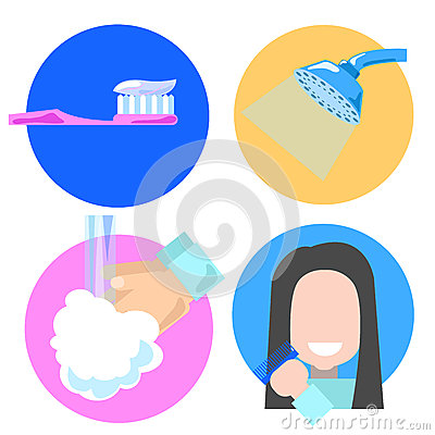 Washing hand in morning clipart graphic freeuse stock Morning Personal Hygiene And Hands Washing Procedure. Hygiene Boy ... graphic freeuse stock