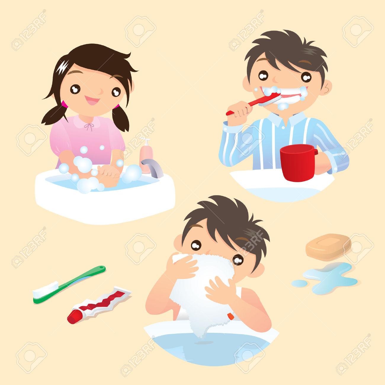 Washing hand in morning clipart jpg free stock Washing face in the morning kids clipart - ClipartFest jpg free stock