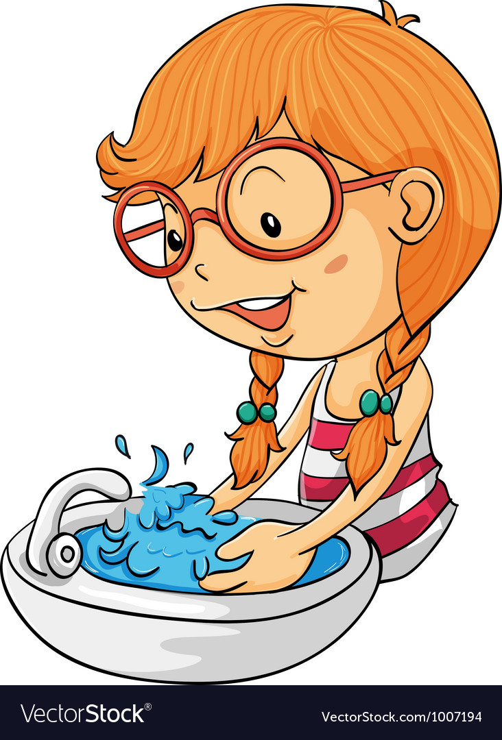 Washing hands clipart small svg free library Girl washing hands vector image svg free library