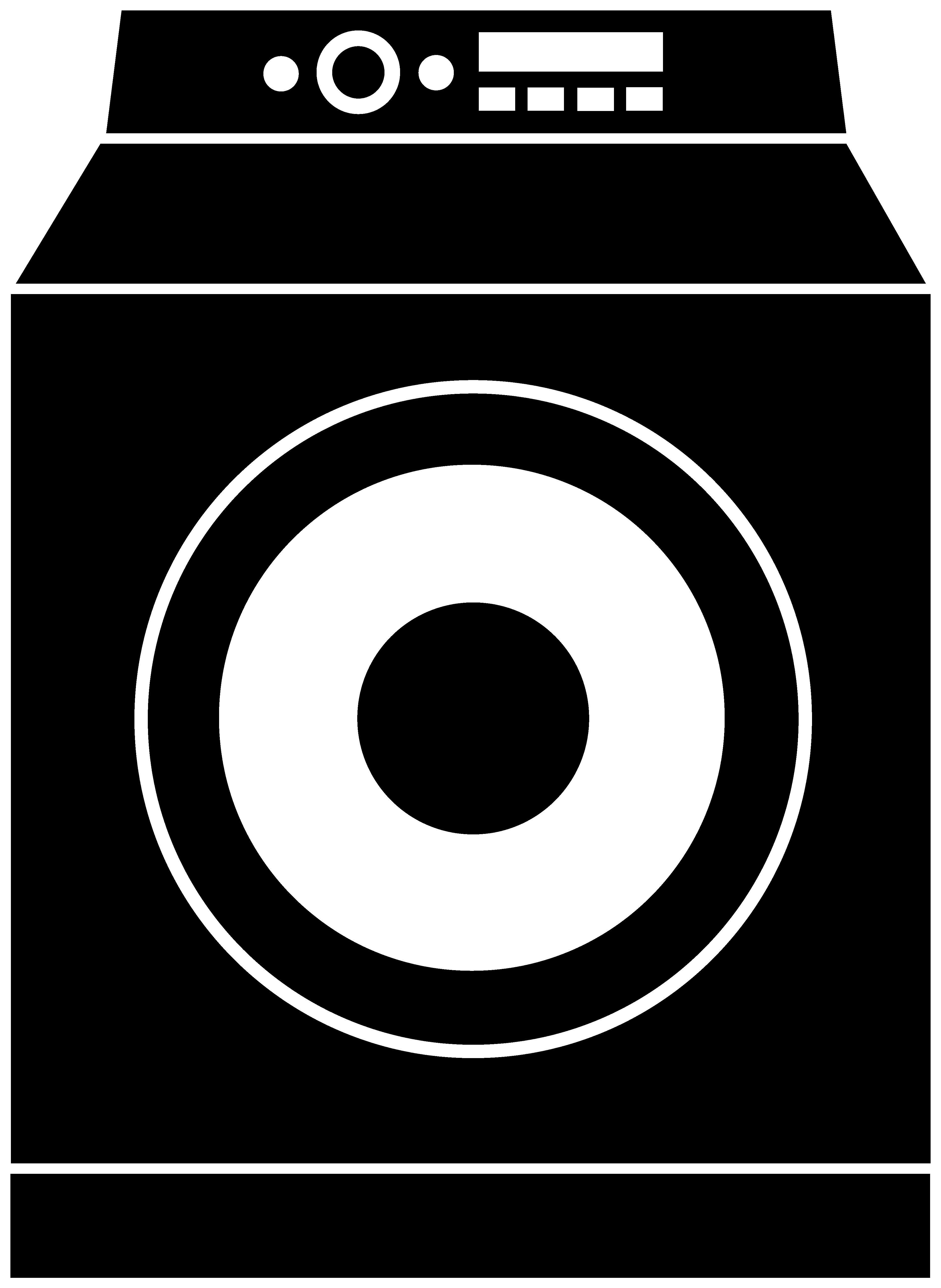 Washing machine clipart images vector black and white stock Washing Machine Silhouette Logo - Free Clip Art vector black and white stock