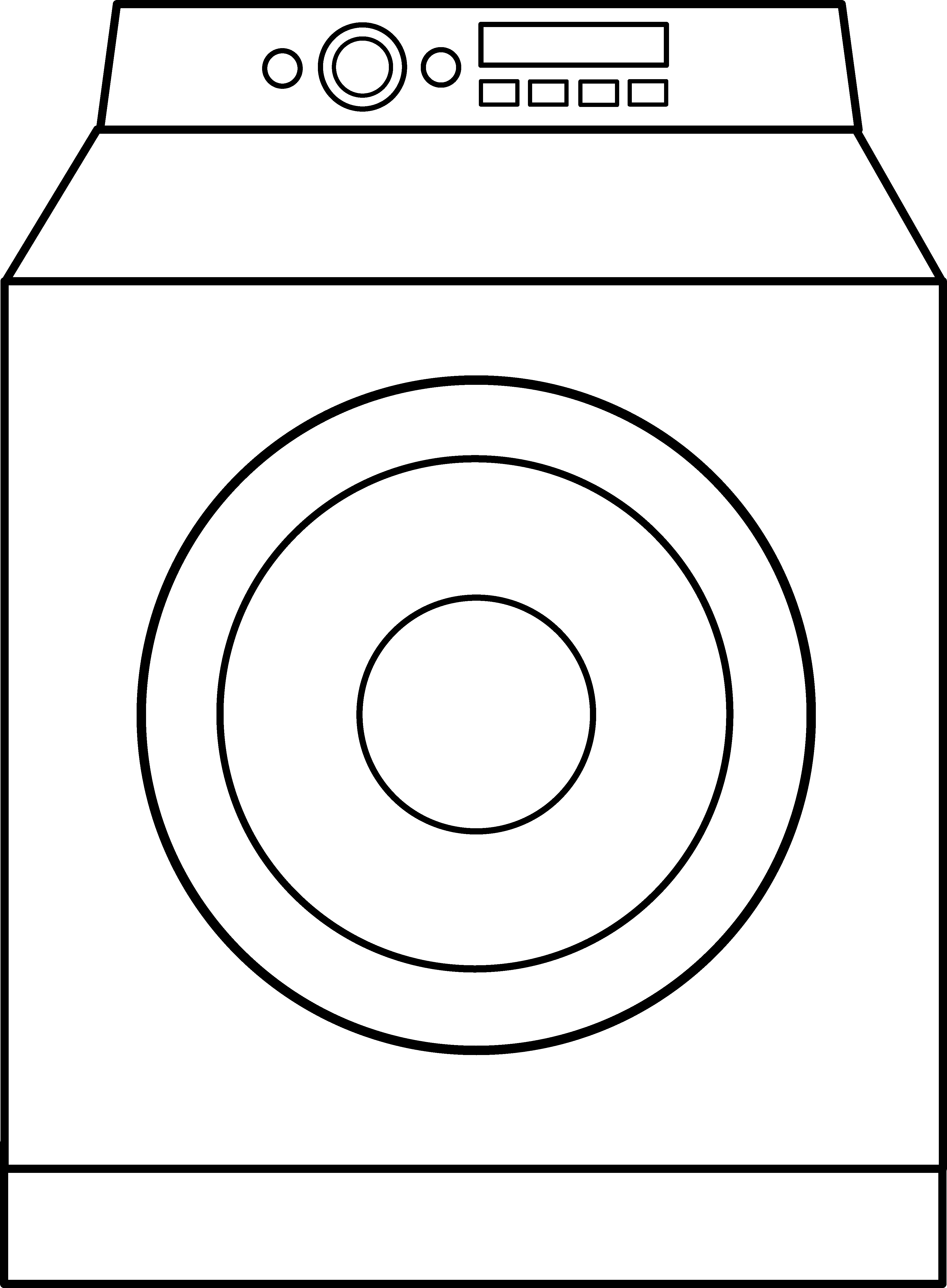 Washing machine clipart images svg black and white Washing Machine Line Art - Free Clip Art svg black and white