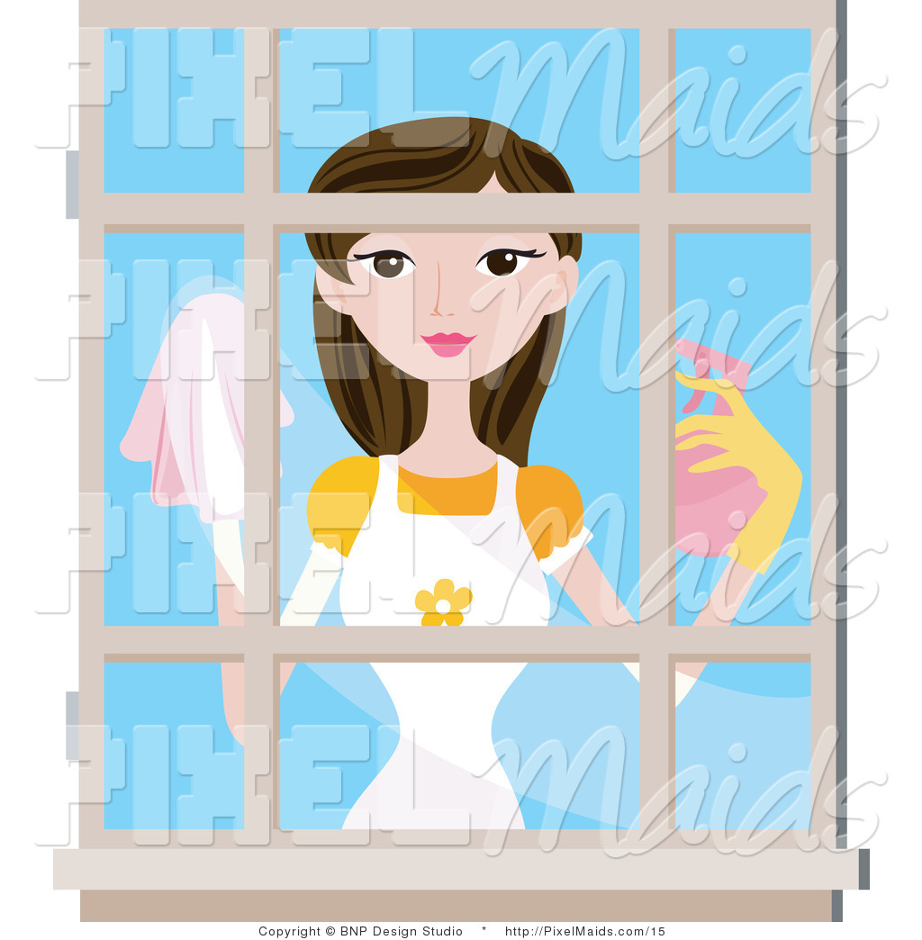 Washing window clipart picture freeuse download Vector Clipart of a Woman Washing Windows by BNP Design ... picture freeuse download