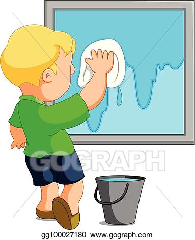 Washing window clipart clip art royalty free library Vector Stock - Child cleaning window. Stock Clip Art ... clip art royalty free library