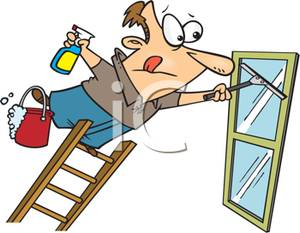 Washing window clipart picture black and white A Colorful Cartoon of a Man Leaning Out on a Ladder Washing ... picture black and white
