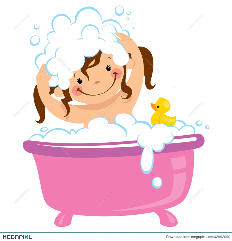 Washing your hair clipart clipart free stock Baby Kid Girl Bathing In Bath Tub And Washing Hair ... clipart free stock