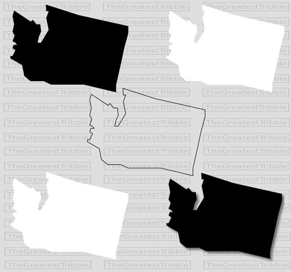 Washington state clipart vector picture black and white Washington State Map svg png jpg eps Vector Graphic Clip Art ... picture black and white
