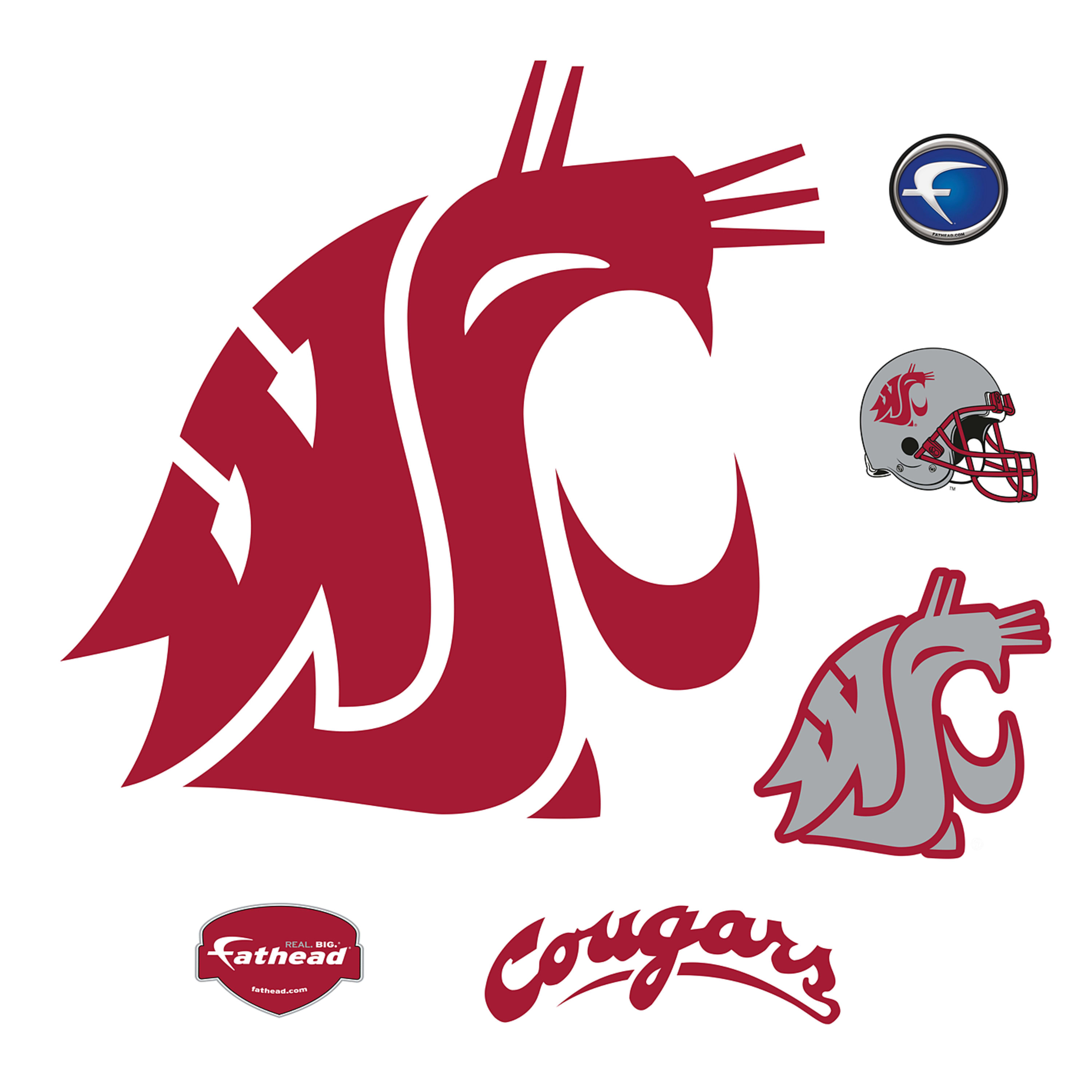 Washington state cougars clipart banner royalty free stock Washington State Cougars: Logo - Giant Officially Licensed Removable Wall  Decal banner royalty free stock