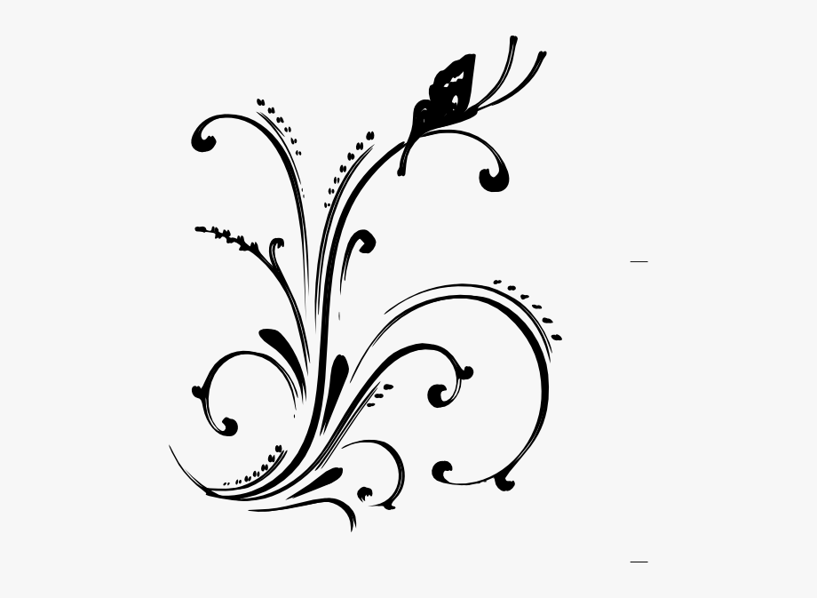 Washout flourish scroll clipart banner freeuse download Scrollwork Fancy Scroll Clipart - Black And White Butterflys ... banner freeuse download