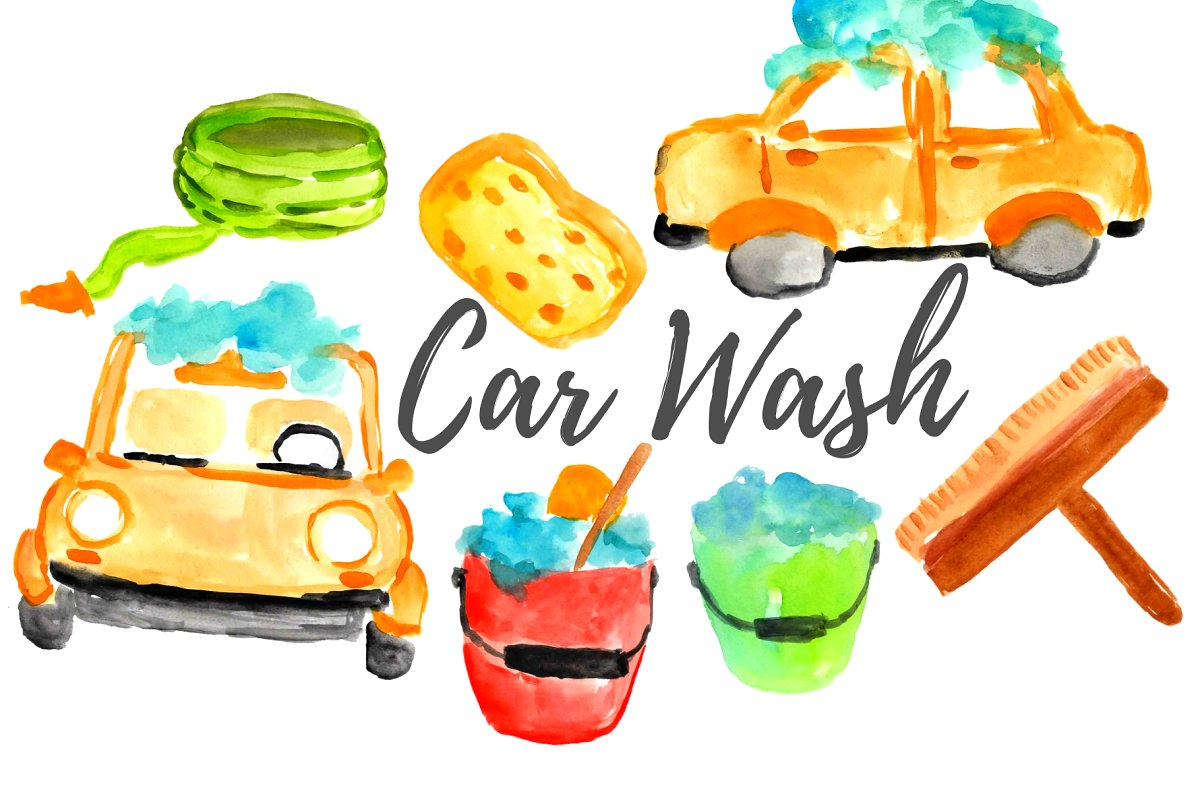 Wasing cars clipart clipart Watercolor Car Wash Clipart clipart