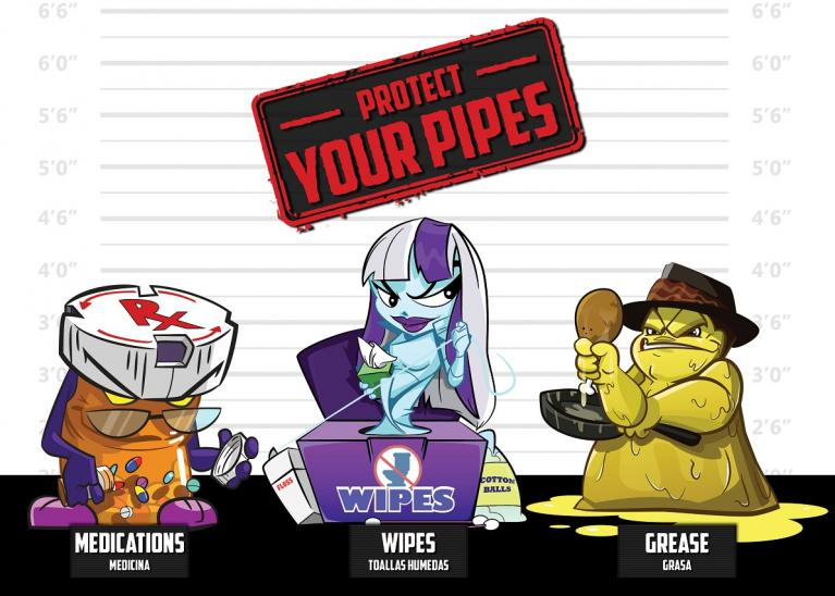 Wastewater jar clipart vector freeuse stock Don\'t be a Pain in the Drain. Protect your Pipes!   DCWater.com vector freeuse stock