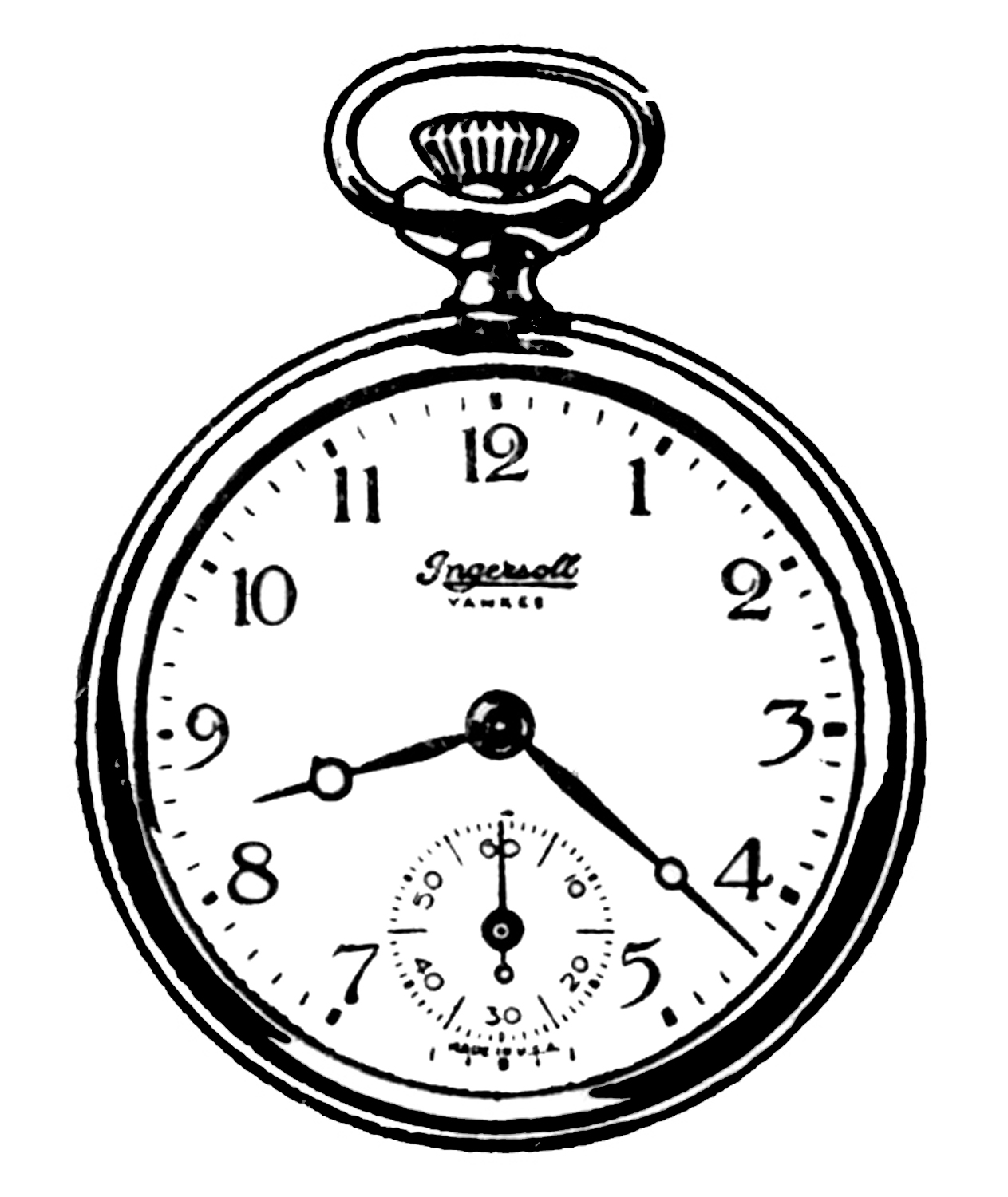 Watch black and white clipart image black and white Vintage Clip Art - Black and White Pocket Watches - The ... image black and white