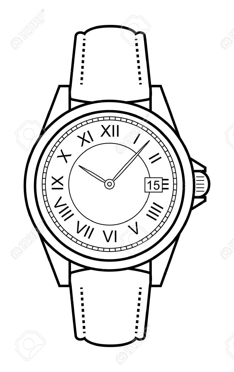 Watch on hand clipart graphic black and white library Hand watch clipart 5 » Clipart Portal graphic black and white library