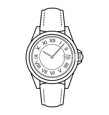 Watch on hand clipart clip freeuse Hand watch clipart black and white - Clip Art Library clip freeuse