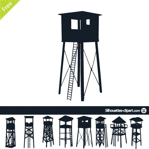 Watch tower vector clipart image stock Watchtower silhouette | Silhouettes | Silhouette, Clip art ... image stock