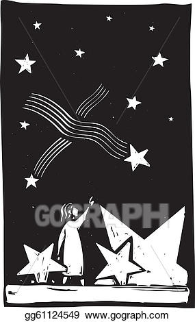 Watching stars together clipart black and white vector free Vector Stock - Falling star debris. Clipart Illustration ... vector free