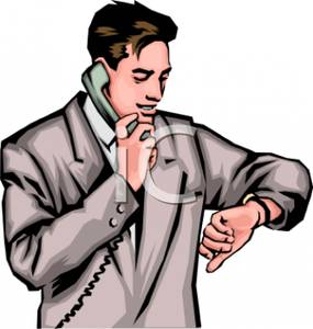 Watching time clipart clip black and white download A Colorful Cartoon of a Man on the Phone Watching the Time ... clip black and white download